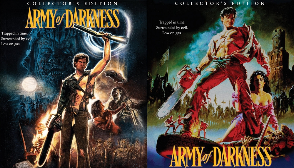 Scream Factory's   Army of Darkness : Collector's Edition commissioned art (left) and classic theatrical art (right).  Fans always get to choose which one they want to display.