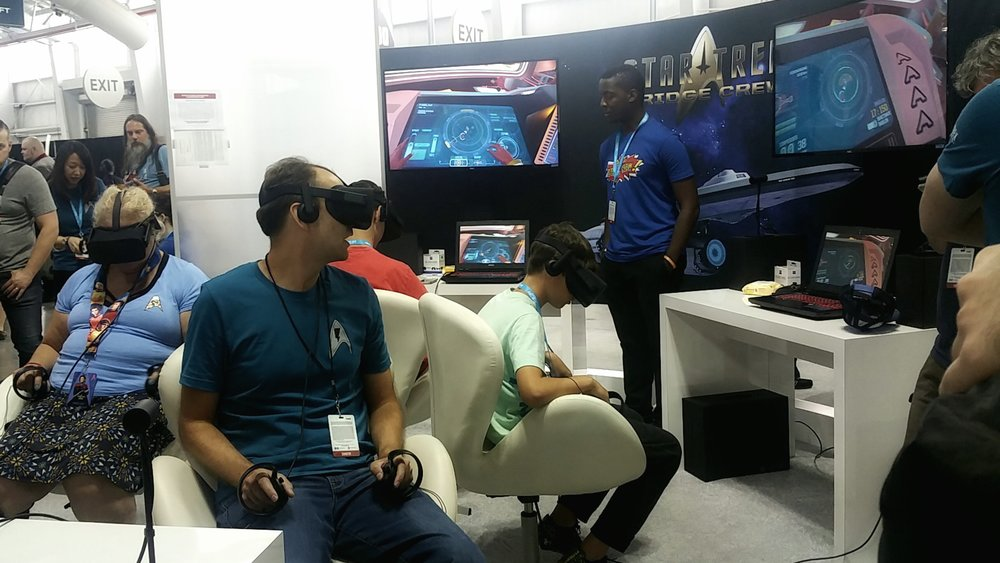 Players trying Ubisoft's Star Trek: Bridge Crew at the Mission: NY convention
