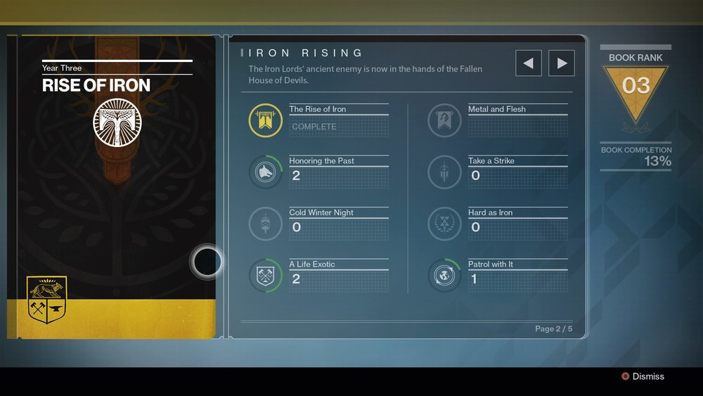 The Rise of Iron book will help keep all your tasks in order and reward you appropriately upon completion. This is one book you want to open.