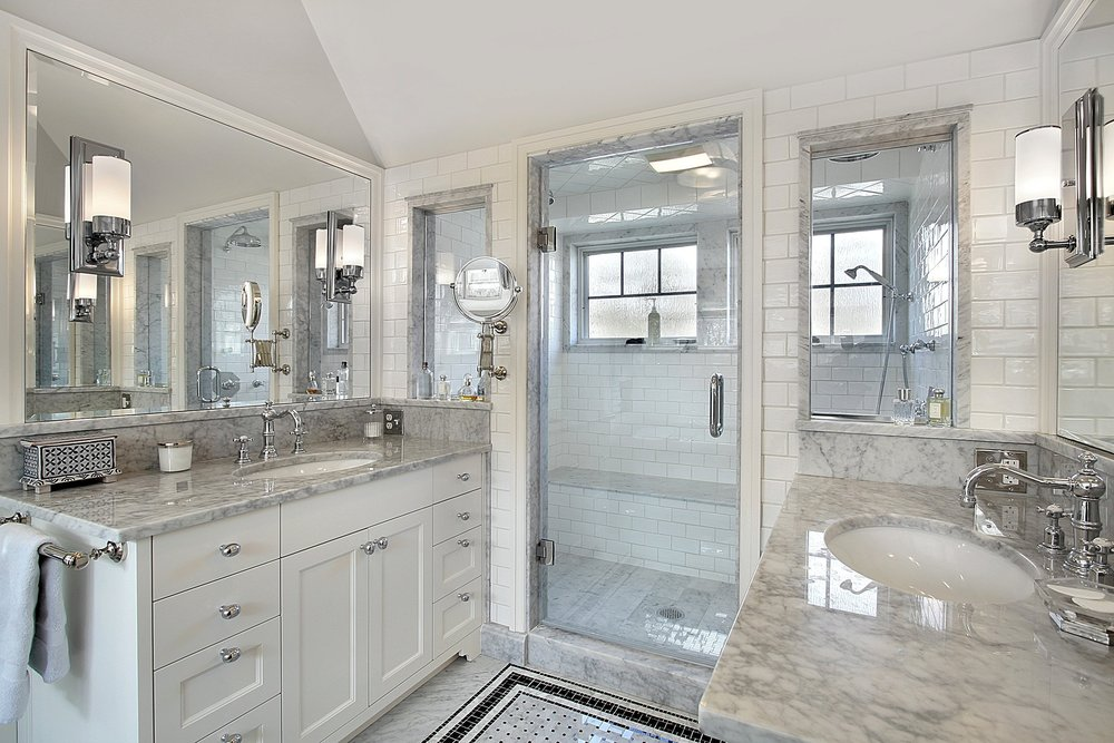 White Carrara Marble Bathroom Counter Top
