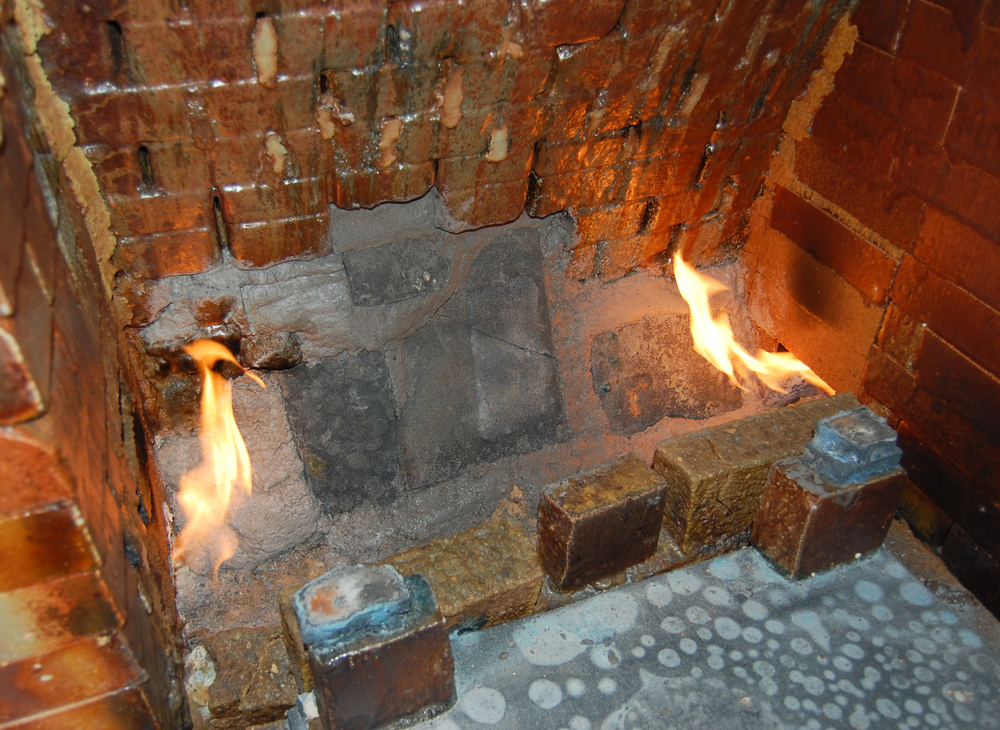 Flames entering the rebuilt firebox