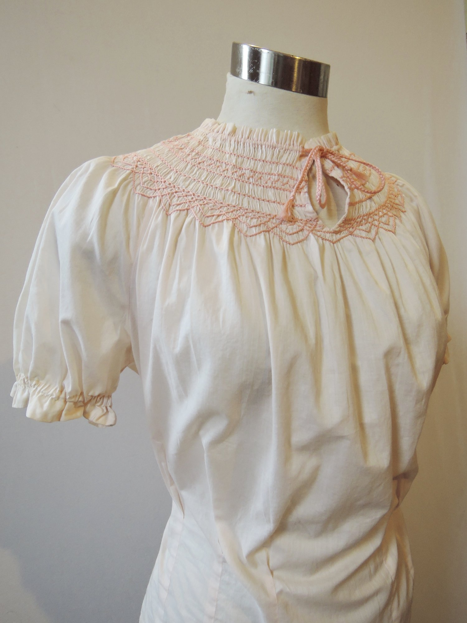 Blush Pink Cotton Peasant Blouse With Smocked Neckline Dated Vintage