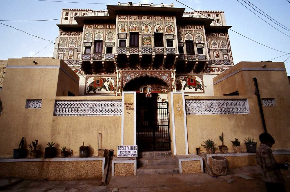 One of the Mandawa Havelis (Mansions) decorated with frescoes (photo by Steve Gillick)