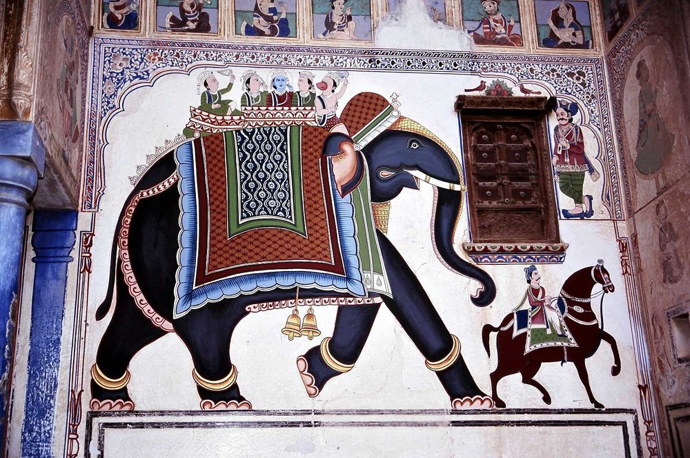 Detail of a restored fresco in one of the Mandawa Havelis (photo by Steve Gillick)