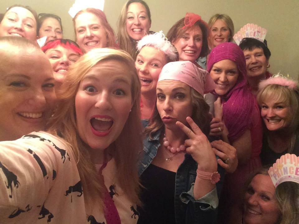 "This is my favorite pic from my whole journey. God surrounded me on every side with amazing friends. This was a week after my first chemo treatment when I had my head shaving party with some of my closest friends/family (see ""Crazy Hair Party"" blog below). What a fun night!!"
