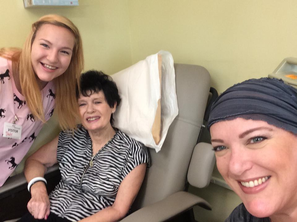 Karissa and Mom during a treatment day. Mom loved the chemo chairs and would usually nap with me.