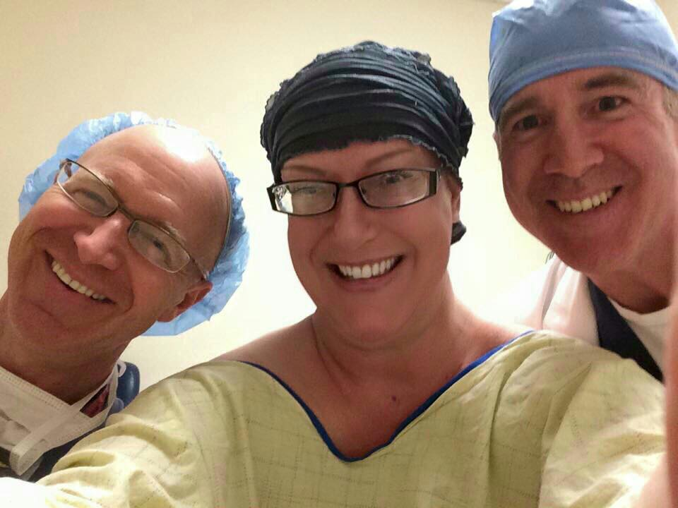 "Surgery Selfie! With Dr. Cohen (cancer surgeon) and Dr. Tierney (plastic surgeon). This was ""GAME DAY"" as Dr. Cohen said. What a Godsend to be in the hands of these amazing doctors!"