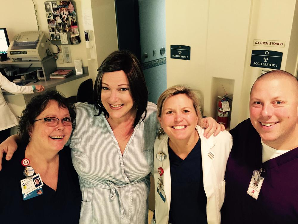 Next up was radiation. I absolutely love these people - my radiation techs: Susan, Larkin & Tom!