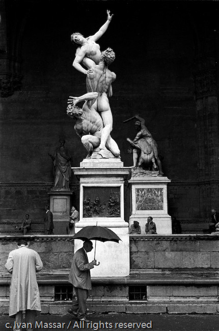 "The shield, ""Rape of the Sabine Women."" Florence, Italy, 1955."