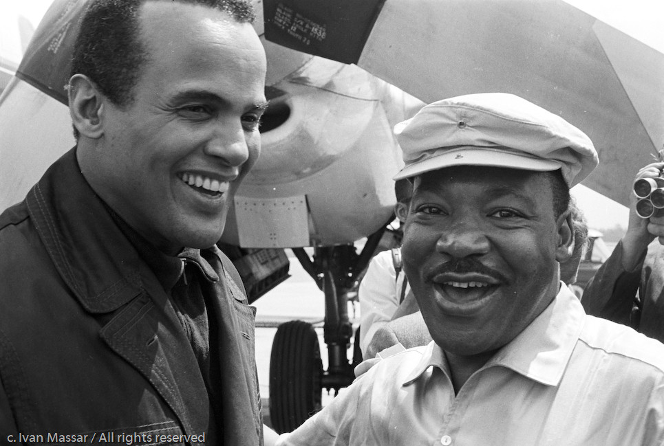 Harry Belafonte and Martin Luther King, Jr at Montgomery Airport.