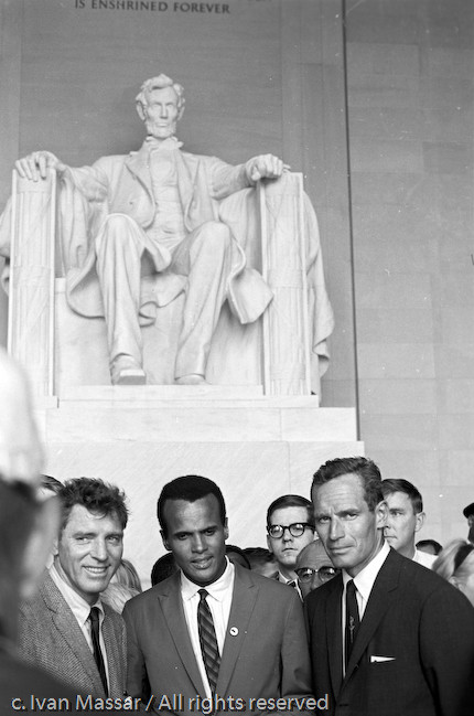 Burt Lancaster, Harry Belafonte, Charlton Heston.