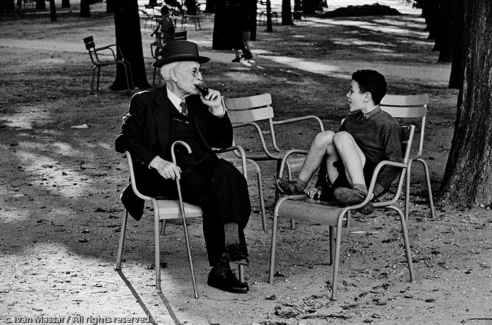 Old man and boy, Luxembourg Gardens.