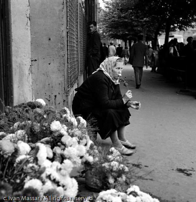 Flower seller.  Belgrade, Yugoslavia, 1950.