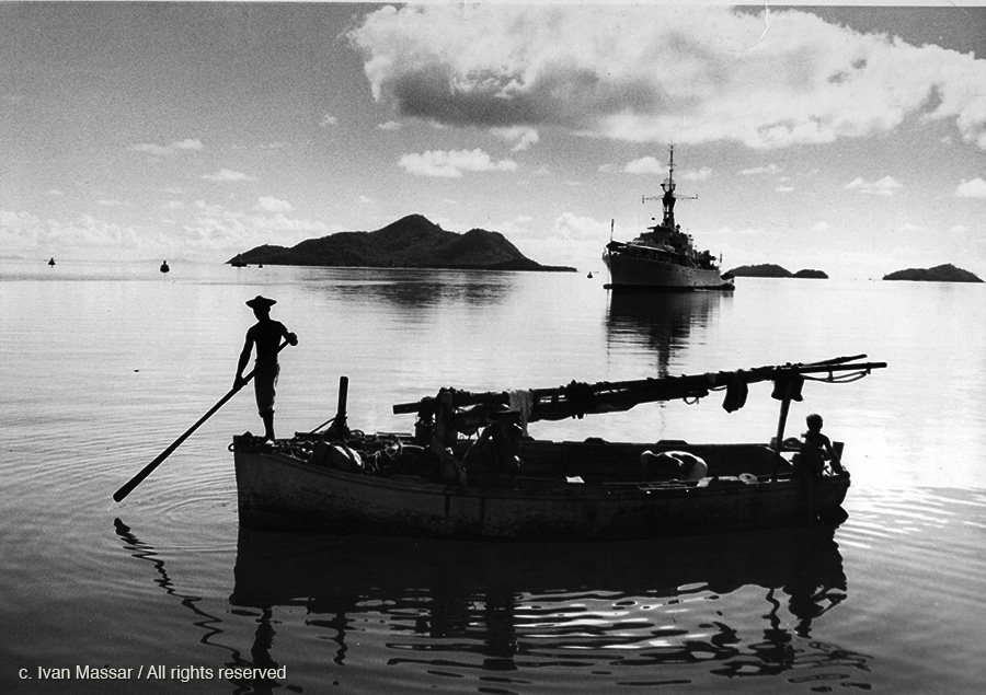 Fishing Boat and Mailboat.  Seychelles, 1959