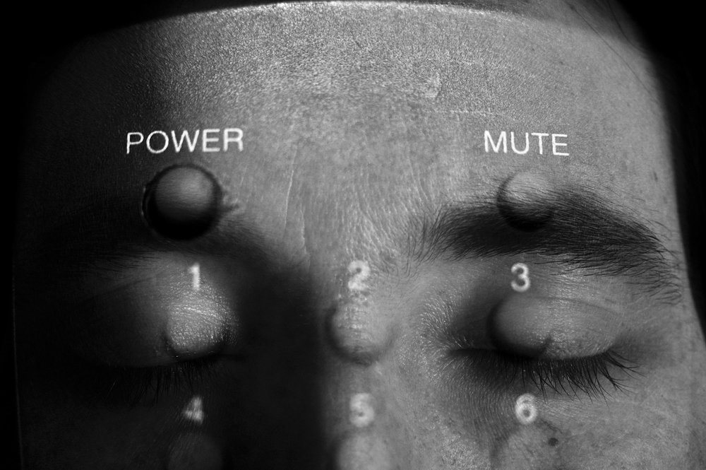 Power - mute,  from the series: Selfportrait under control. Double exposure in camara black and white photography, 2009