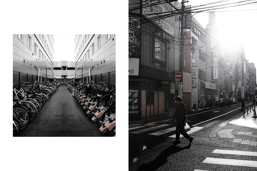 Left: bike parking in Nara. Right: street in Hiroshima.