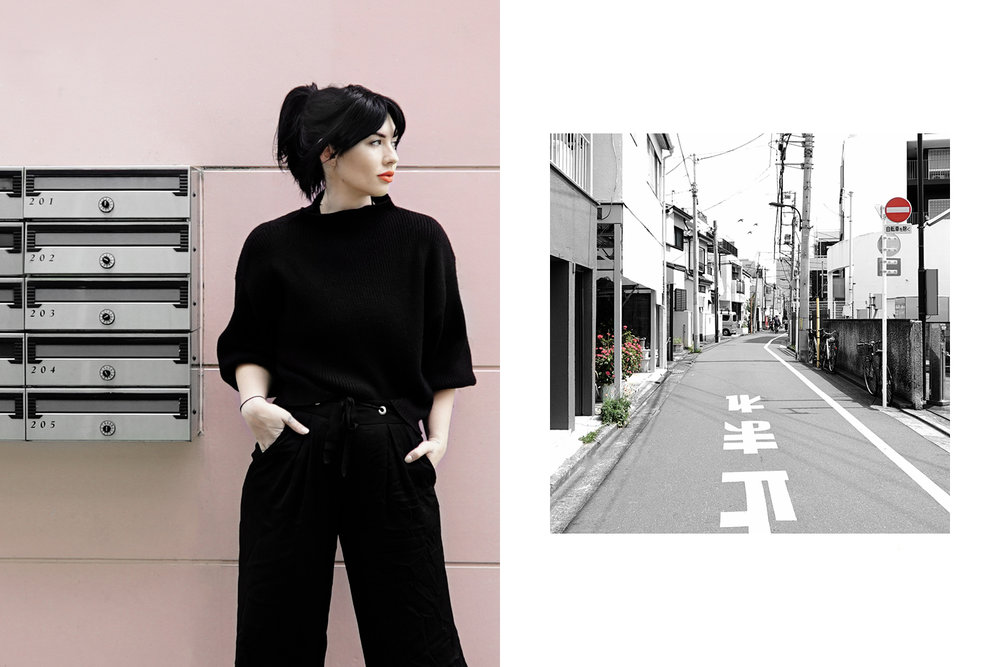 Left: Instagram picture. Right: back street in Okubo.
