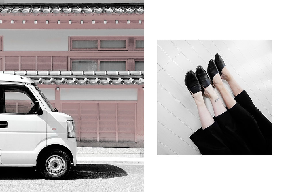 Left: car in Miyajima. Right: Instagram picture.