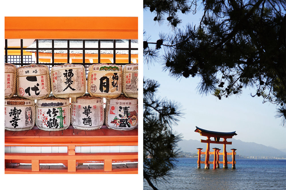 Left: inside the Shrine. Right: O-torii during daylight, as the tide began to come in.