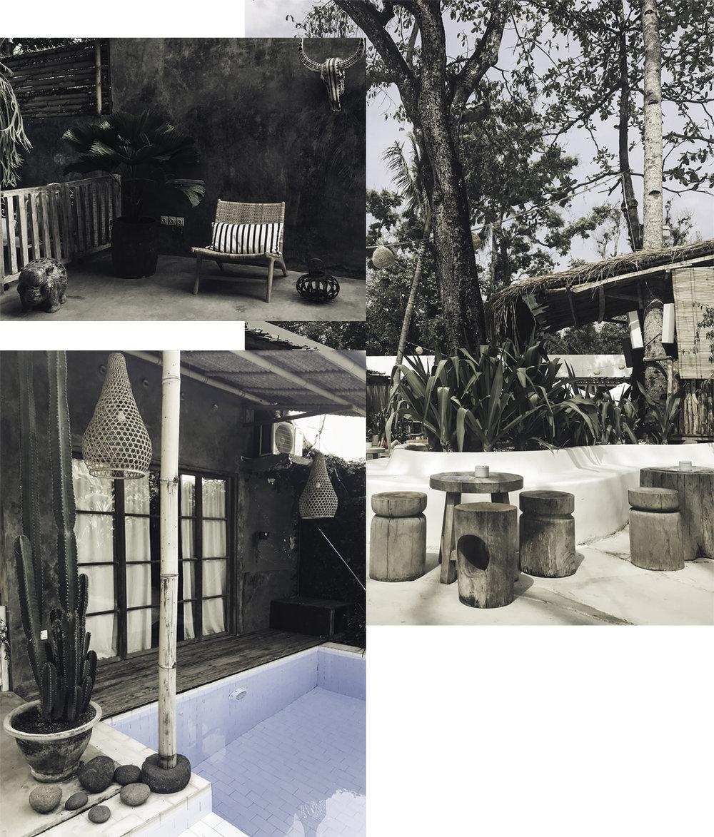 Left upper: Villa #3. Left lower: Villa #3. Right: Mrs Sippy Beach Club.