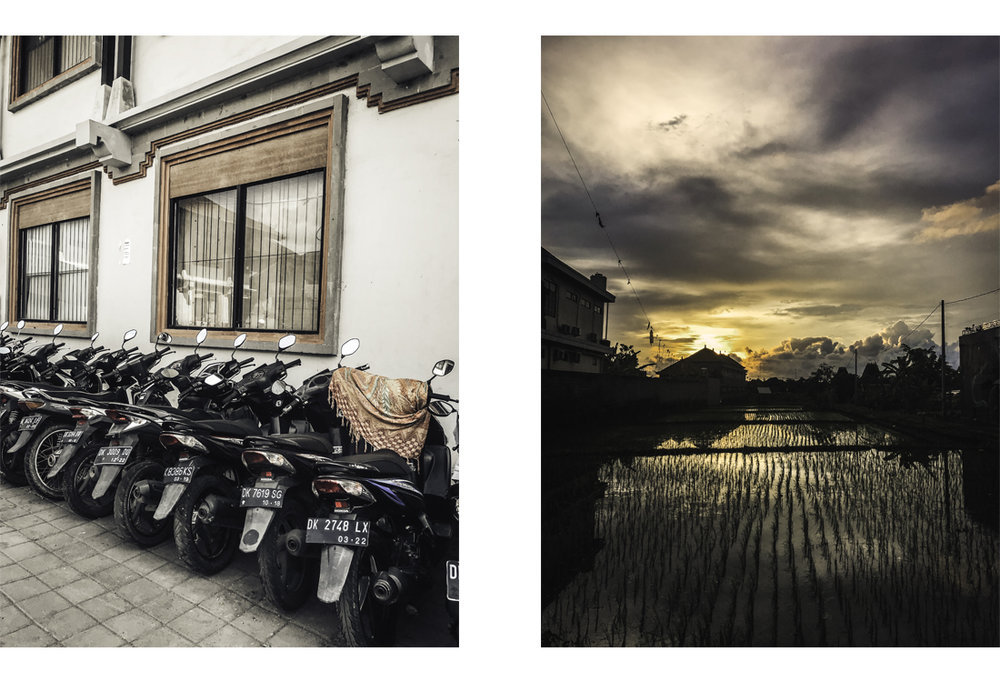 Left: scooters at Ubud Market. Right: Rice fields in Canggu.