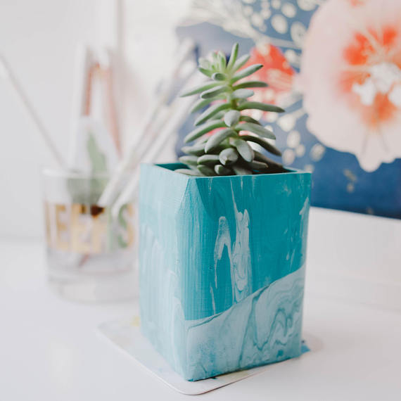 Oak & Oats - Blue Marble Planter - Okay...A 3-D printed planter!?? Sign me up!This air plant/ mini succulent planter has been 3D printed, designed, and painted in a marbled style. This fun and modern planter is perfect for your desk, windowsill, mantel, and other various home decor spaces.