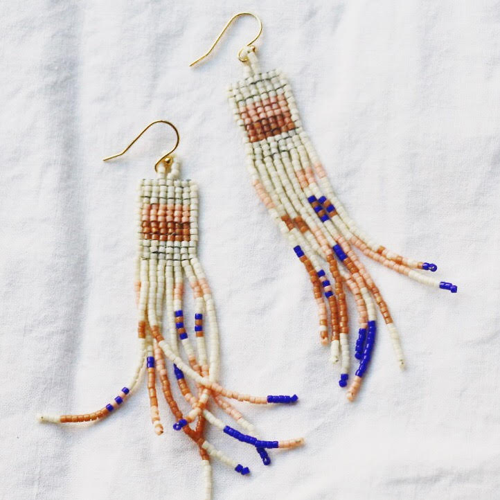 Jen Neal Studio - Comet Earrings - I love that it looks like a mini weaving!These handwoven beaded earrings are made with Japanese glass beads and 14k gold earring wire.