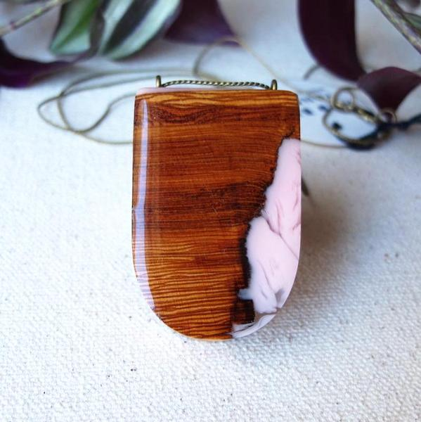 Wild Blue Yonder - Pink Resin + Cottonwood Pendant - Resin is so mesmerizing to me! I love the contrasting textures in this piece.This lovely pendant is created from cottonwood bark, accented with a lively swirl of soft peachy-pink resin.