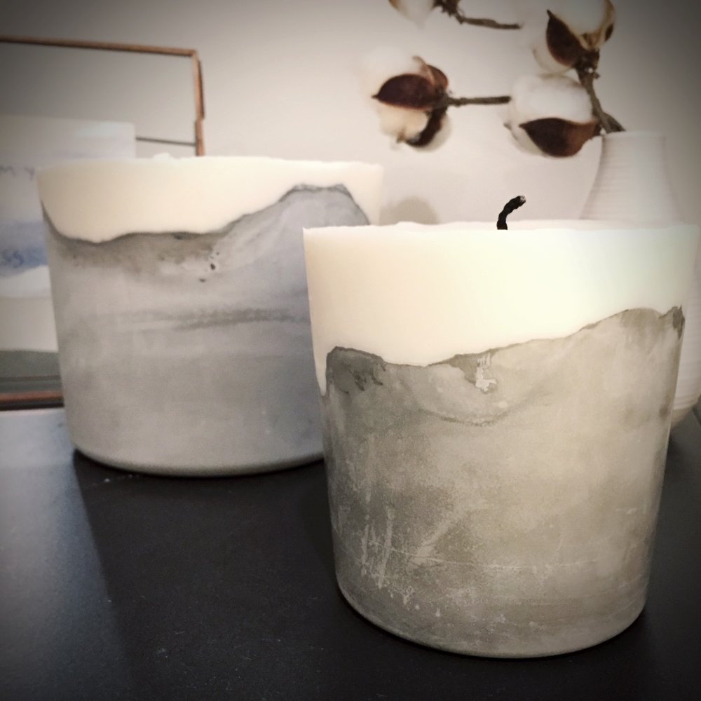 Concrete Candles - Pair