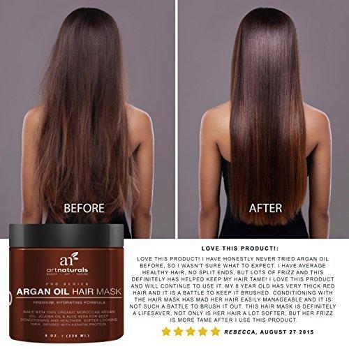 Art Naturals Argan Oil Hair Mask, Deep Conditioner 8 Oz, 100% Organic Jojoba  Oil