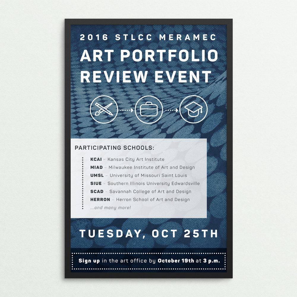 Poster designed for STLCC–Meramec's 1st Annual Portfolio Review Event.