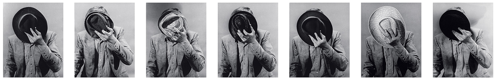 Portrait: Artist's Identity Hidden With Various Hats,  1974  © John Baldessari