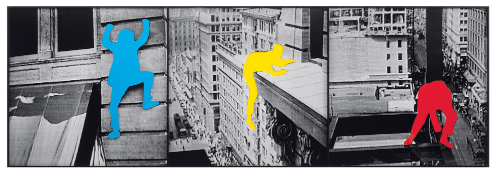 The Duress Series: Person Climbing Exterior Wall of Tall Building / Person on Ledge of Tall Building / Person on Girders of Unfinished Tall Building,  2003  © John Baldessari