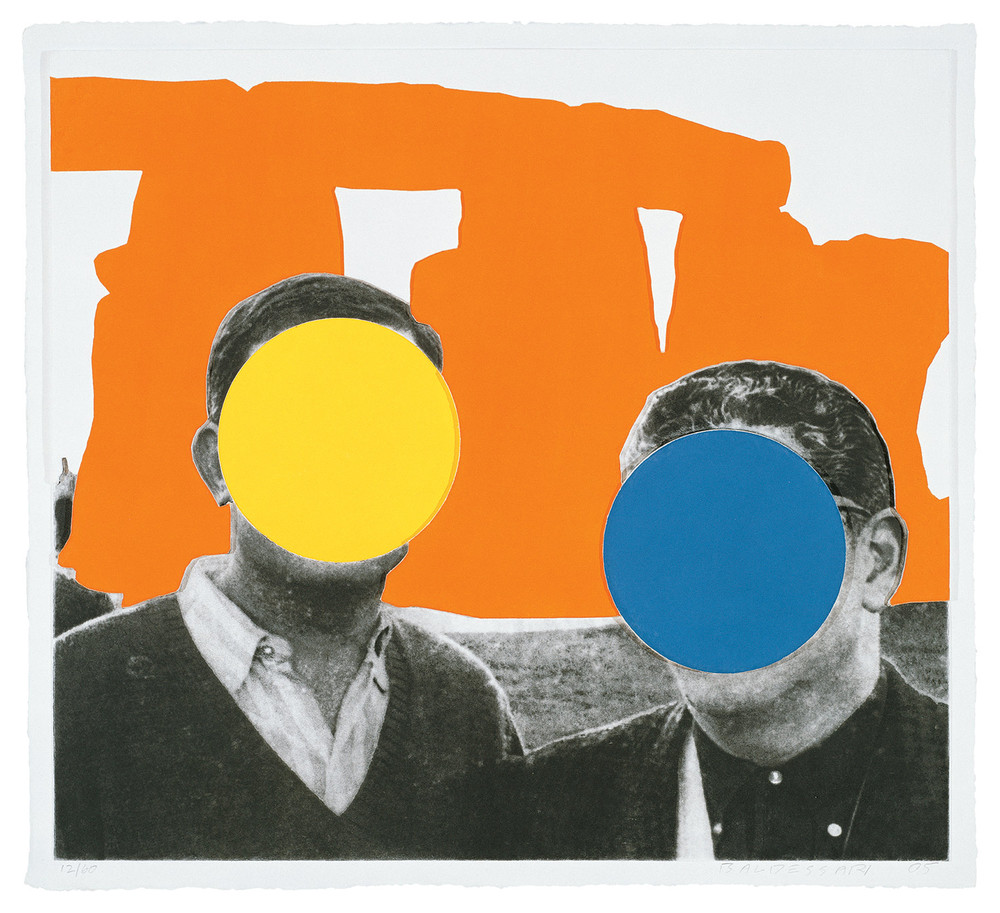 Stonehenge (With Two Persons) Orange , 2005 Publisher: Mixografia, Edition of 60.  © John Baldessari