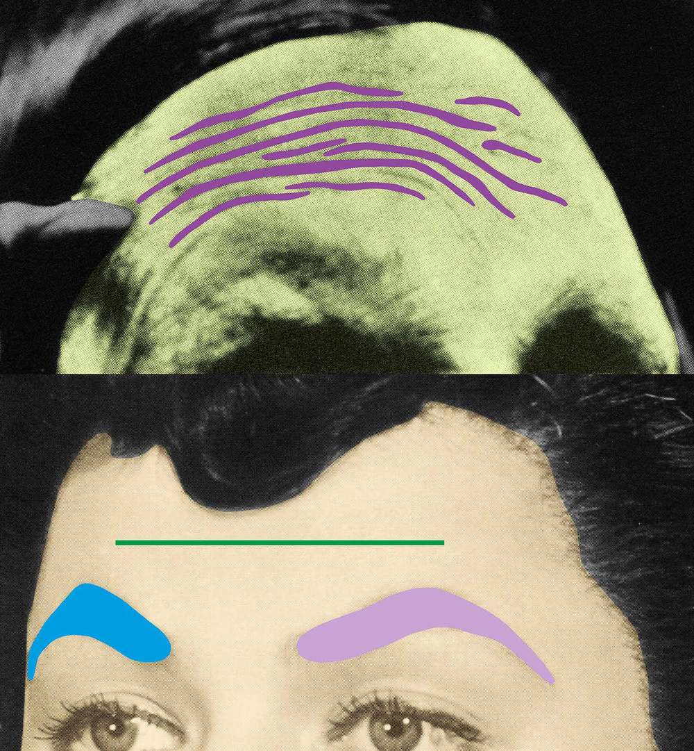 Raised Eyebrows/ Furrowed Foreheads: Two Foreheads (One Green) , 2009 Publisher: Freunde der Kunstmuseen Krefeld e.V., Edition of 30.  © John Baldessari