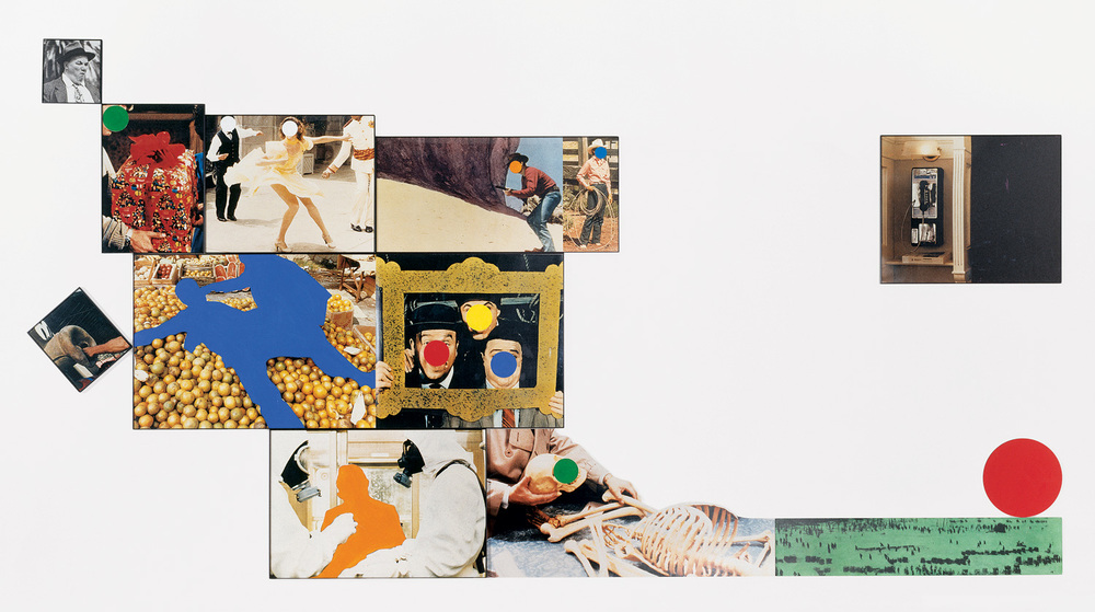 Hope (Blue) Supported by a Bed of Oranges (Life): Amid a Context of Allusions,  1991  © John Baldessari