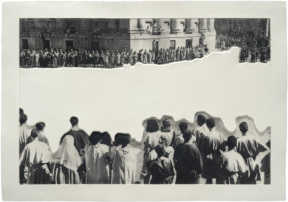 Crowd with Shape of Reason Missing: Example 1 , 2012 Publisher: Mixografia, Edition of 60.  © John Baldessari