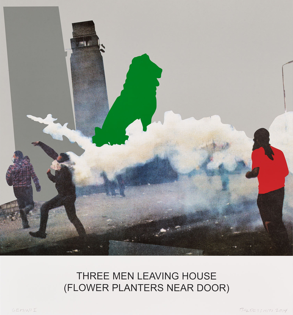 The News: Three Men Leaving House… , 2014 Publisher: Gemini G.E.L., Edition of 50.  © John Baldessari