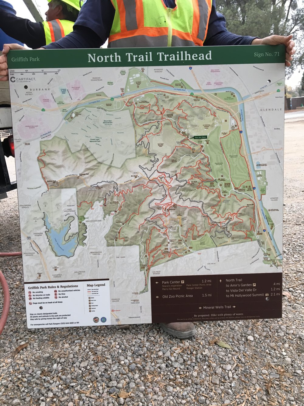 Installing the large map signs