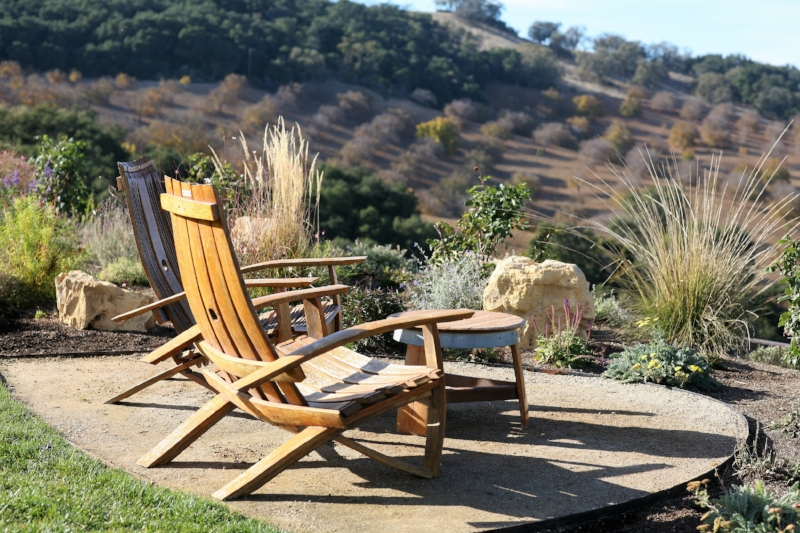 A seating area in Daou's vineyard.