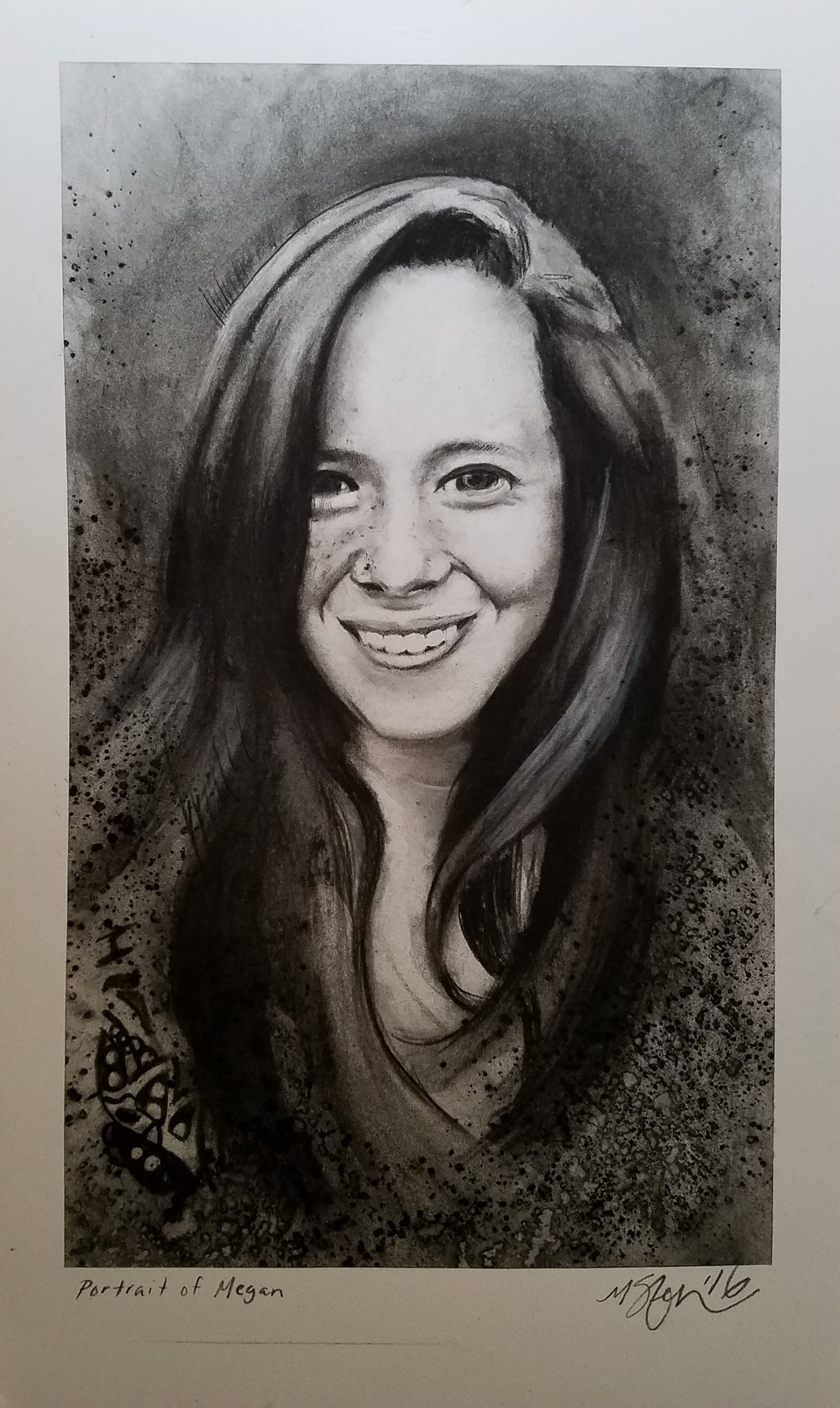 """Portrait of Megan"" -2016 Charcoal on Bristol. 11x14 in."
