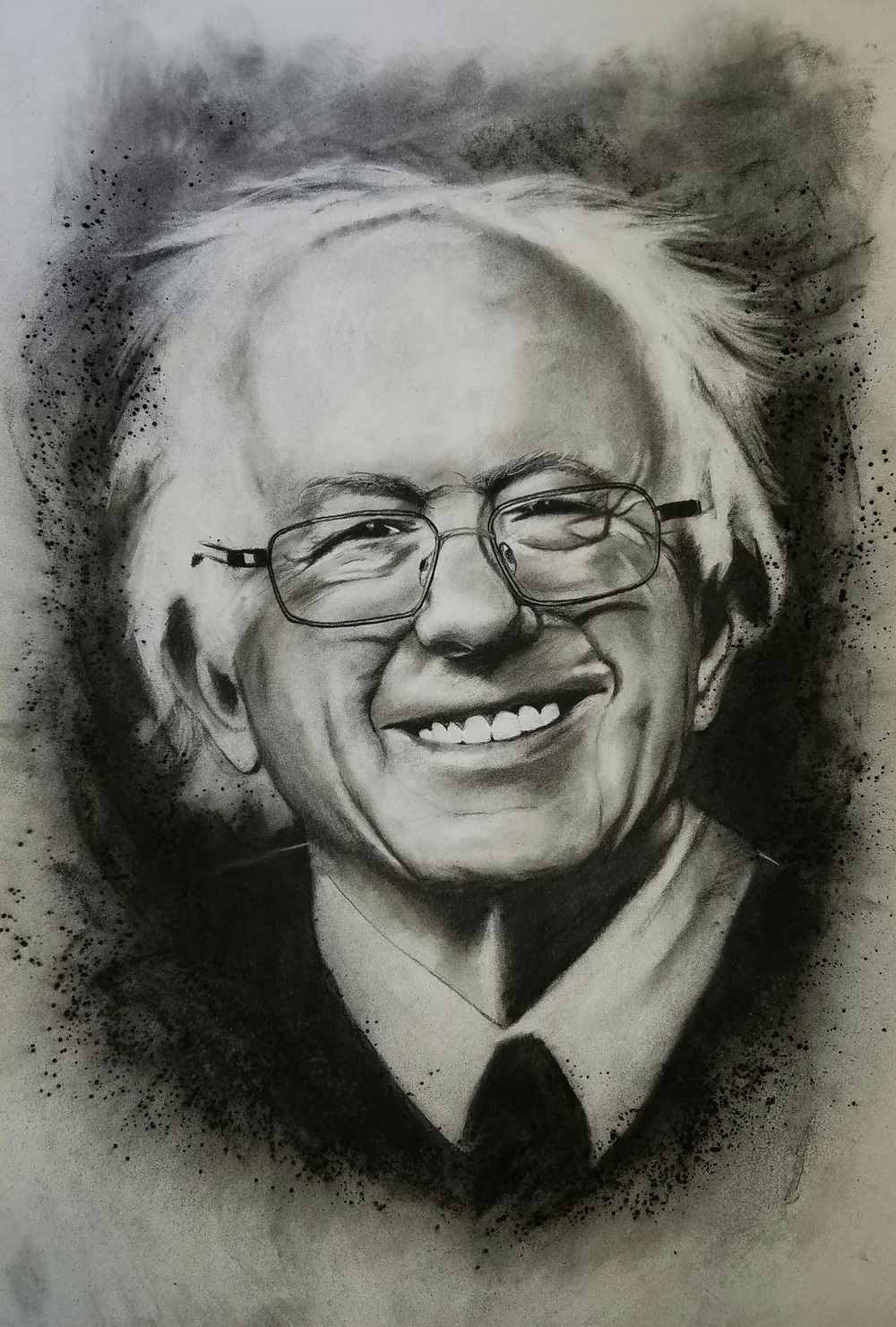 """Bernie Sanders"" -2016 Charcoal on Stonehenge. 16x24 in."