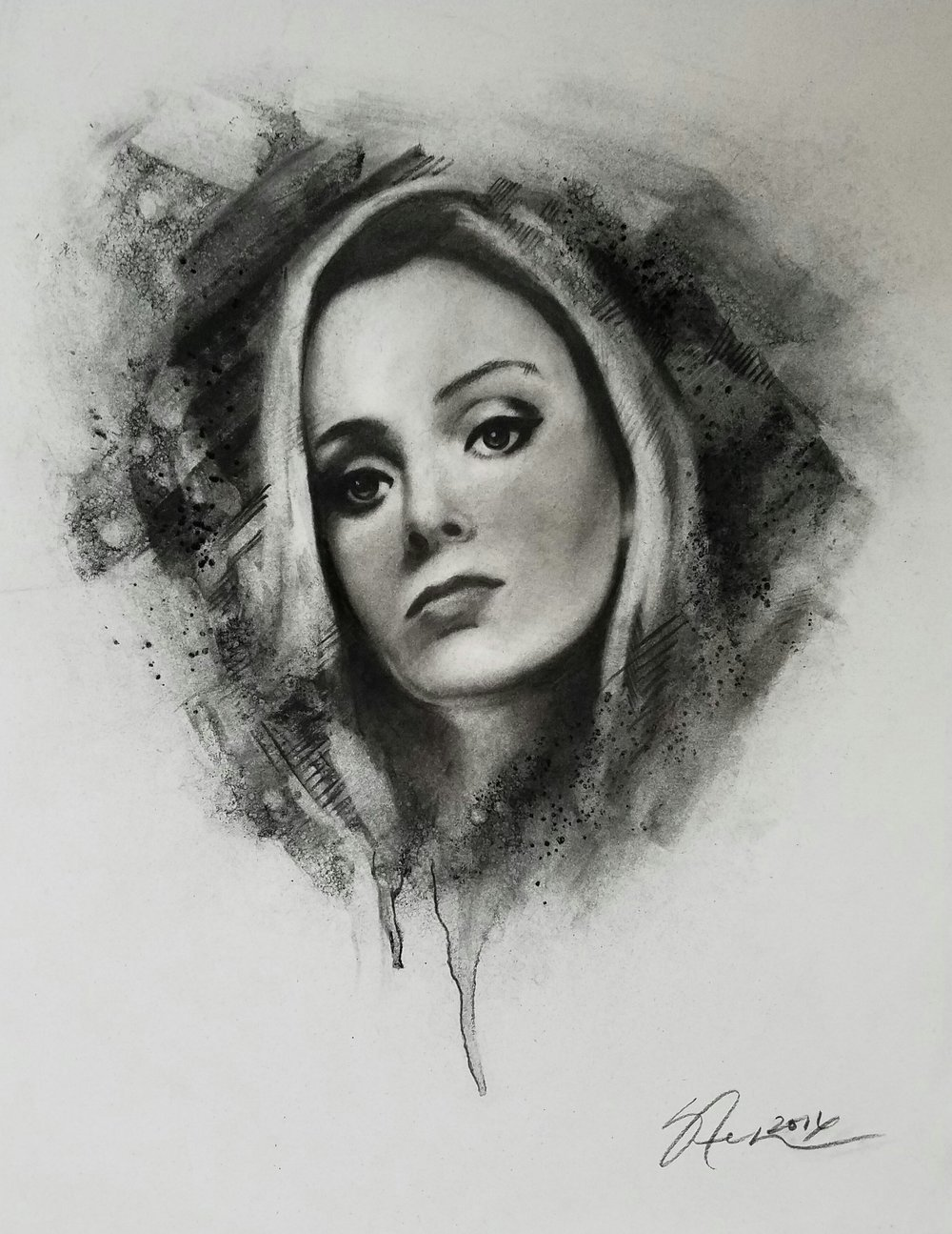 """Erica's Portrait""2016 - Charcoal on Bristol. 11x14 in."