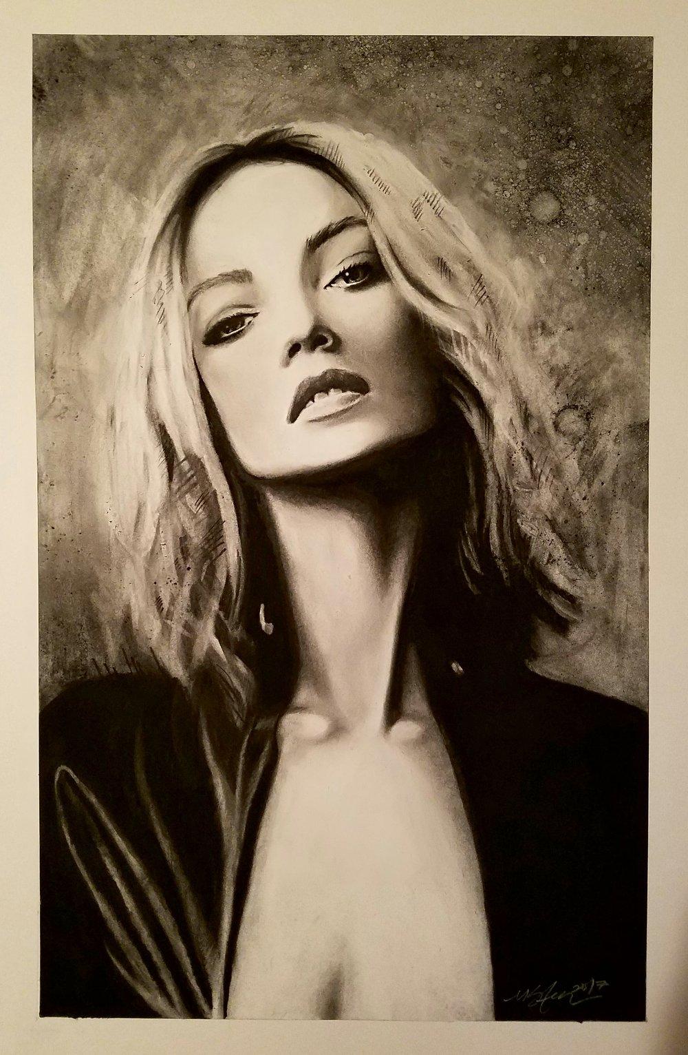 """Portrait of Ida"" 2017 - Charcoal on Bristol. 16x24 in."