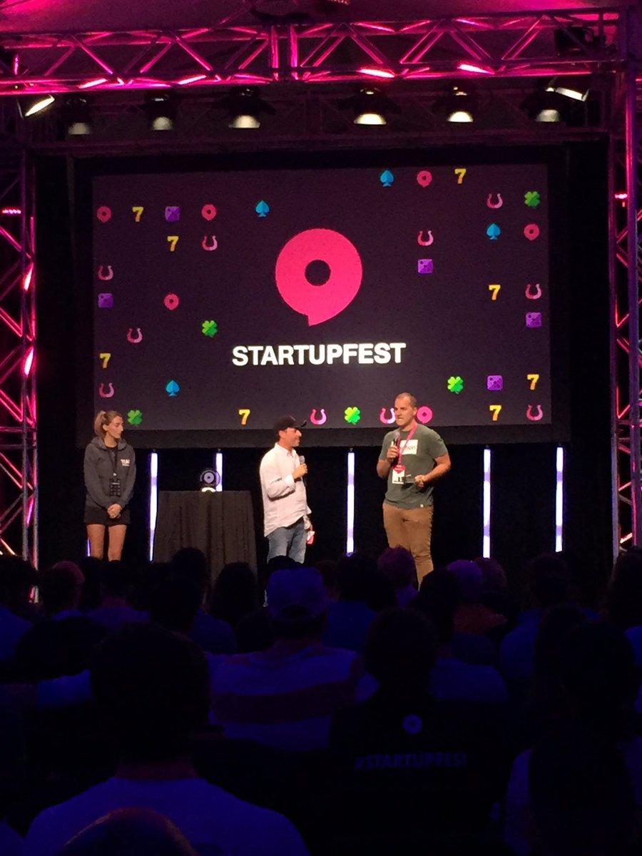Josh Domingues, pitching at StartupFest - 2017