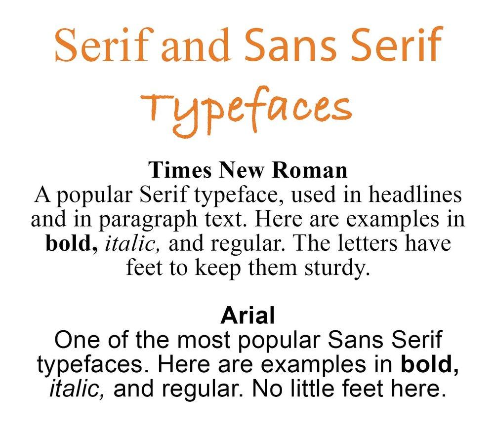 KerryAThompson.com Blog: Serif and Sans Serif typefaces