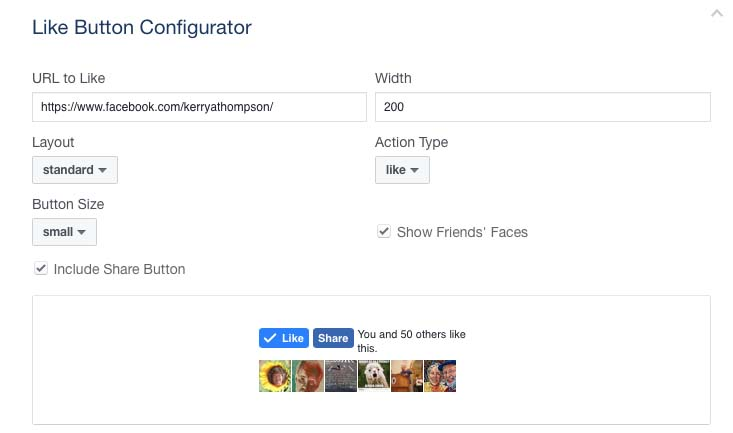 Facebook Like Button Configurator options for KerryaThompson.com
