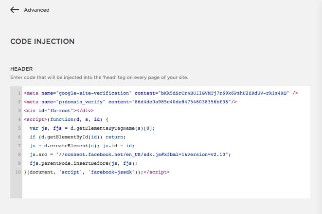Facebook Button Configurator JavaScript code in Header section of website (KerryAThompson.com)