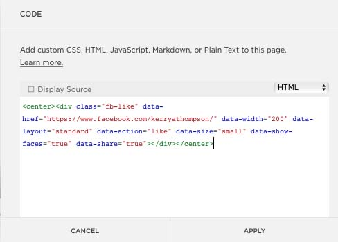 Facebook Button Configurator HTML code in website