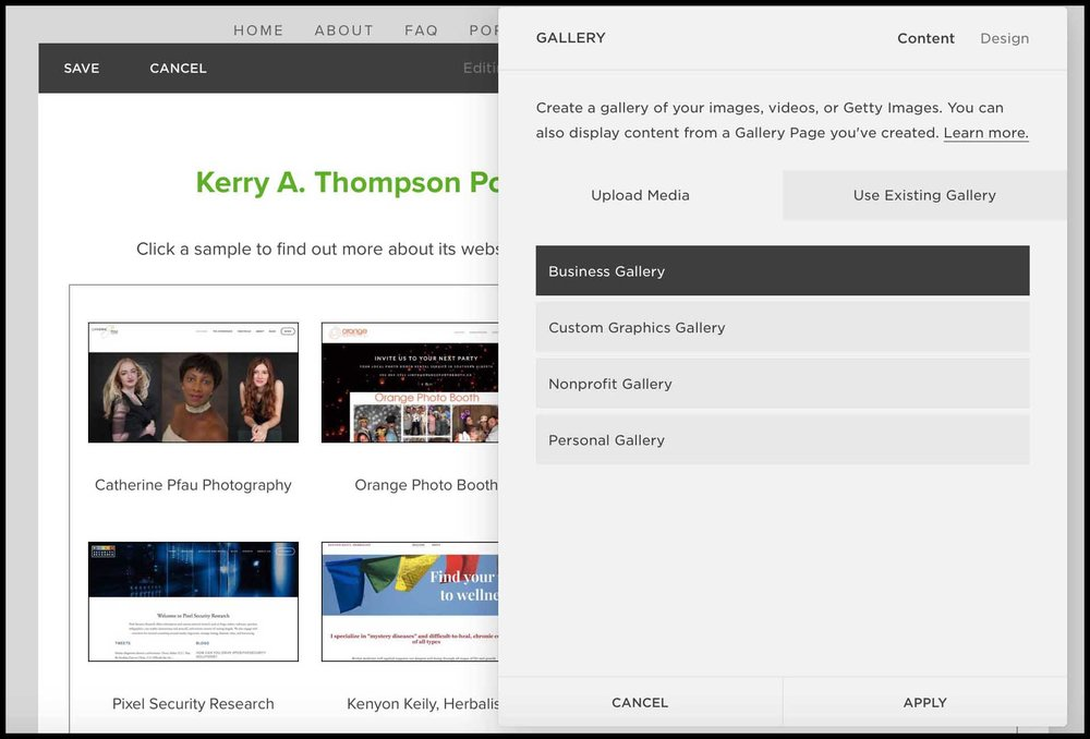 Kerry A. Thompson Blog - Portfolio Makeover, Gallery container page
